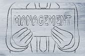 Business Man Holding Sign About Management