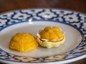 picture of yolk  - Wheat flour dumplings with egg yolk and sugar - JPG