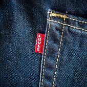 Chiang Mai, Thailand- February 15, 2015: Close Up Of The Levis Red Label On The Back Pocket Of A Pai