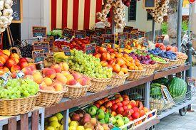 foto of stall  - Fruit stall in the Italian city market - JPG