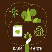 foto of bamboo leaves  - Save Earth and ecology concept in flat style with a hand holding a young green plant - JPG