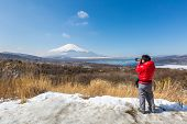 image of mount fuji  - Aerial panorama view point of Mount Fuji at Yamanaka Lake in Winter - JPG
