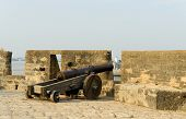 image of fortified wall  - Cannon on walls of the Portuguese fort in the Diu town in Gujarat - JPG