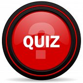 picture of quiz  - quiz red glossy web icon  - JPG