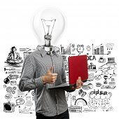 picture of job well done  - lamp head man with laptop in his hands shows well done - JPG