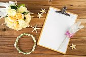 foto of headband  - Wooden Clipboard attach planning paper with pen on top beside rose headband tiara bouquet starfish - JPG