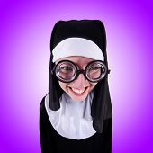 image of nun  - Funny nun isolated on the white background - JPG