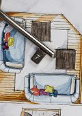 stock photo of freehand drawing  - Watercolor and ink freehand sketch drawing of apartment flat floor plan partial fragment with metal keys - JPG