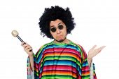stock photo of maracas  - Funny mexican wearing poncho with maracas isolated on white - JPG