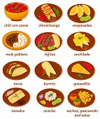 stock photo of poblano  - big set of vector illustrations of the post popular and prominent mexican food - JPG