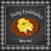 stock photo of enchiladas  - vector poster template on a chalkboard background with enchilada illustration and spanish text  - JPG