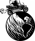 picture of grim-reaper  - Woodcut style expressionist image of the grim reaper death driving a vintage car around the globe - JPG