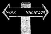 picture of opposites  - Opposite arrows with Work versus Vacation. Hand drawing with chalk on blackboard. Choice conceptual image - JPG