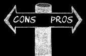 image of opposites  - Opposite arrows with Pros versus Cons. Hand drawing with chalk on blackboard. Choice conceptual image - JPG