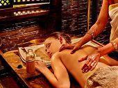 image of panchakarma  - Young woman having oil spa treatment - JPG