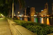 stock photo of dick  - Cityscape Bangkok city night view and Benchakitti Park Bangkok city Thailand - JPG