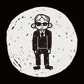stock photo of bodyguard  - Bodyguard Doodle - JPG
