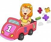 stock photo of numbers counting  - Illustration of a Little Girl Driving a Toy Car Designed with Numbers and Mathematical Symbols - JPG
