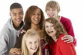 foto of mixed race  - Studio Portrait Of Five Teenage Friends - JPG