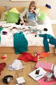picture of untidiness  - Teenage Girl In Untidy Bedroom - JPG