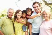 picture of family fun  - Extended Group Portrait Of Family Enjoying Day In Park - JPG