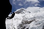 foto of sherpa  - A rock climber near the west ridge of Mt - JPG