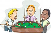 Illustration of Men Playing Billiards After Work