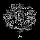 SEO. Word collage on black background. Vector illustration. Illustration with different association