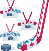 Vector hockey sticks in USA and Canada flag colors and puck