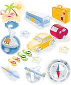 image of camper-van  - Travel vector icon set - JPG