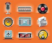 Vector radio icon set (fondo naranja)
