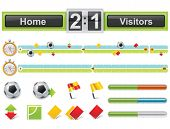 foto of offside  - Vector soccer match timeline with scoreboard - JPG