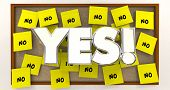Yes Vs No Overcome Objections Sticky Notes 3d Illustration poster