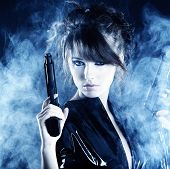 pic of raider  - beautiful sexy girl holding gun  - JPG