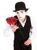 image of clown rose  - mime holding a rose  - JPG