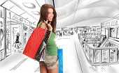 Beautiful shopping woman at a draw mall