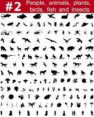 # 2 Gran colección de siluetas de vector de collage de personas, animales, aves, pescado, flores y en