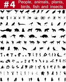 Set # 4. Big collection of collage vector silhouettes of people, animals, birds, fish, flowers and insects