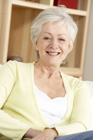 stock photo of beautiful senior woman  - Portrait Of Senior Woman At Home - JPG