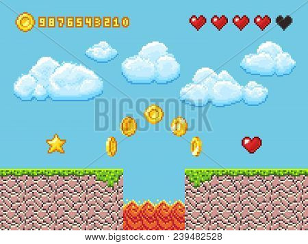 poster of Video Pixel Game Landscape With Gold Coins, White Clouds And Red Hearts Vector Illustration. Game An