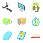Production Area Icons Set. Cartoon Set Of 9 Production Area Vector Icons For Web Isolated On White B poster