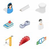 Scientific Space Icons Set. Isometric Set Of 9 Scientific Space Vector Icons For Web Isolated On Whi poster