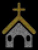 Christian Church Halftone Vector Icon. Illustration Style Is Pixelated Iconic Christian Church Symbo poster