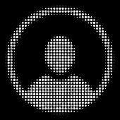 Rounded User Portrait Halftone Vector Icon. Illustration Style Is Dotted Iconic Rounded User Portrai poster
