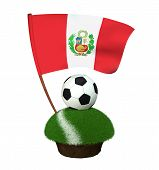 A Black And White Round Ball For Playing Football And The National Flag Of Peru Are Located On A Str poster