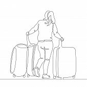 Continuous Single One Line Drawn Line Of A Passenger With A Mobile Phone With Cellular And Suitcase  poster