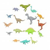 Different Dinosaurs Icons Set. Cartoon Illustration Of 16 Different Dinosaurs Vector Icons For Web poster