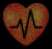 Dot Cardiology Icon. Bright Pictogram In Fire Color Tones On A Black Background. Vector Halftone Pat poster