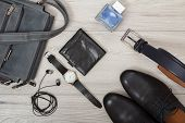 Leather Shoulder Bag For Men, Headphones, Wristwatch, Wallet, Mens Cologne Pairs Of Black Leather M poster