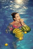 Vitamin In Fruit At Girl Near Water. Vitamin And Healthy Organic Food poster